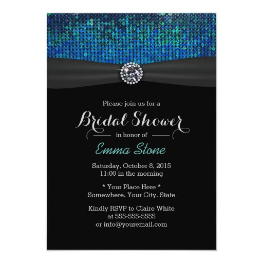 Chic Teal & Blue Paillettes Diamond Bridal Shower 5x7 Paper Invitation Card