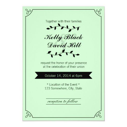 "Stylish Framed Mint Green Wedding Invitations 5"" X 7"" Invitation Card"