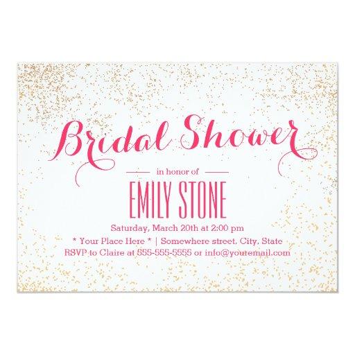 Stylish Gold Confetti Bridal Shower 5x7 Paper Invitation Card