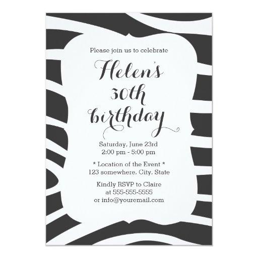 Simple Zebra Stripes Birthday 5x7 Paper Invitation Card