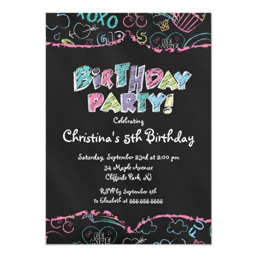 "Cute  Chalkboard Girls Birthday Party Invitation 5"" X 7"" Invitation Card"