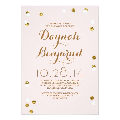 Blush pink & gold confetti modern bridal shower 5x7 paper invitation card
