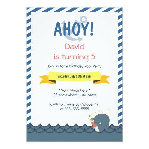"Nautical Mermaid & Whale Birthday Invitations 5"" X 7"" Invitation Card"