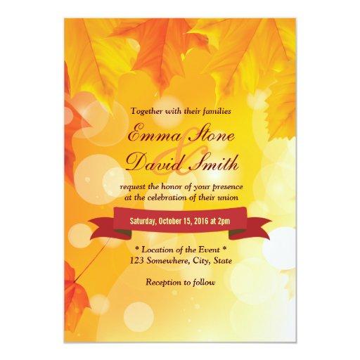 "Golden Autumn Leaves Fall Wedding Invitations 5"" X 7"" Invitation Card"