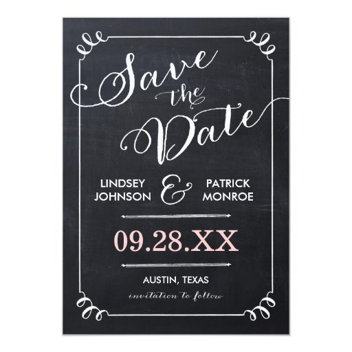 Chalkboard Script Modern Typography Save the Date 5x7 Paper Invitation Card