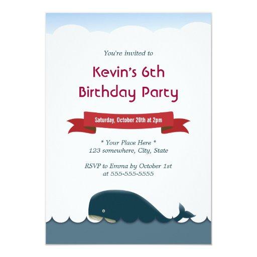 "Cute Blue Whale & Sea Birthday Invitations 5"" X 7"" Invitation Card"