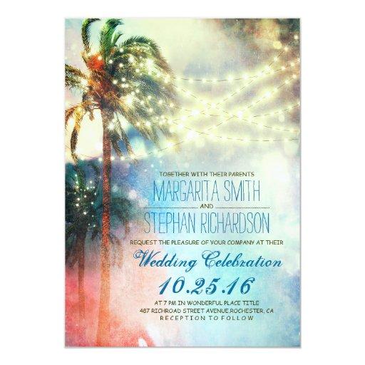 "string lights palm trees beach wedding invite 5"" x 7"" invitation card"