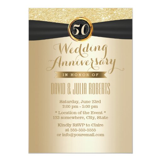 Classy Black Ribbon Gold 50th Wedding Anniversary 5x7 Paper Invitation Card