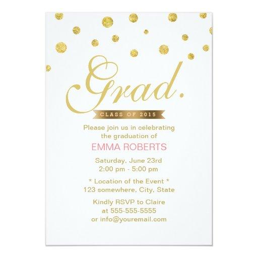 Simple Gold Glitter Confetti Dots Graduation 5x7 Paper Invitation Card