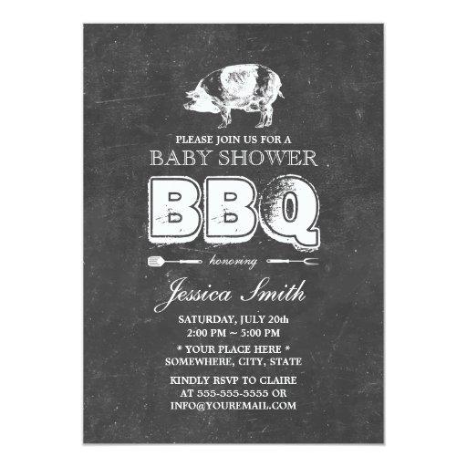 Vintage Chalkboard Pig Roast Baby Shower BBQ Party 5x7 Paper Invitation Card