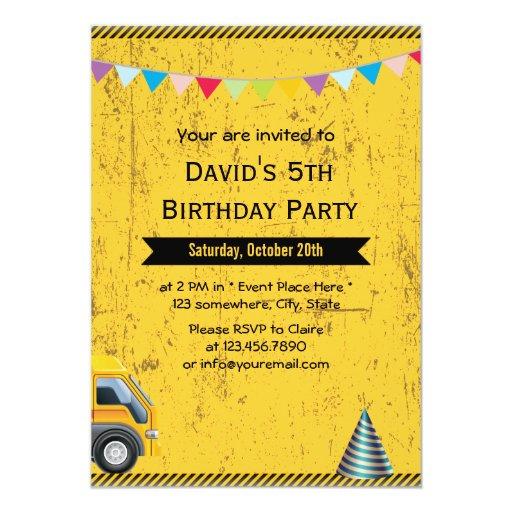"Grunge Construction Birthday Party Invitations 5"" X 7"" Invitation Card"