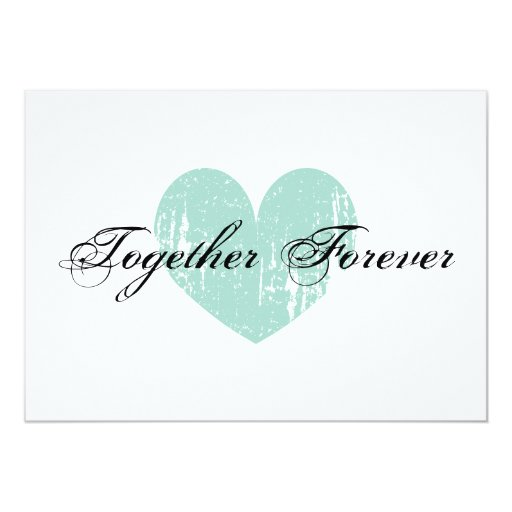 """Elegant teal heart engagement party invitations 5"""" x 7"""" invitation card (front side)"""