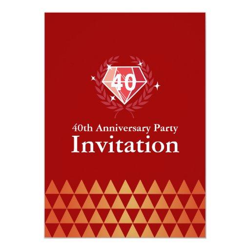 "Luxury Ruby Gems 40th Anniversary Party Invites 5"" X 7"" Invitation Card"