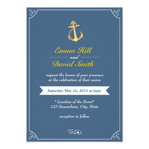 "Gold Anchor Royal Blue Nautical Wedding Invites 5"" X 7"" Invitation Card (front side)"