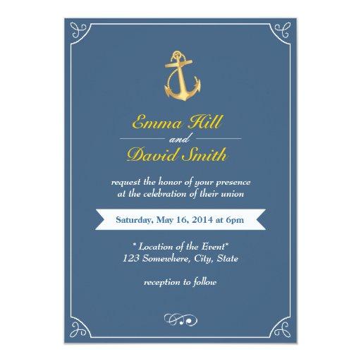 "Gold Anchor Royal Blue Nautical Wedding Invites 5"" X 7"" Invitation Card"