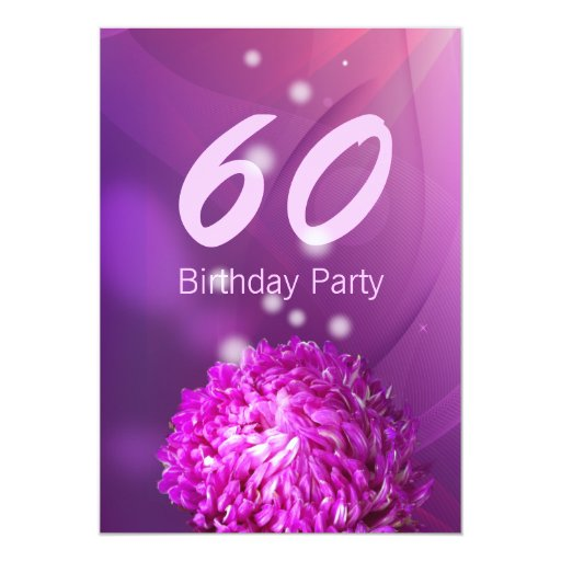 "Classy Purple Flower 60th Birthday Party Invite 5"" X 7"" Invitation Card (front side)"