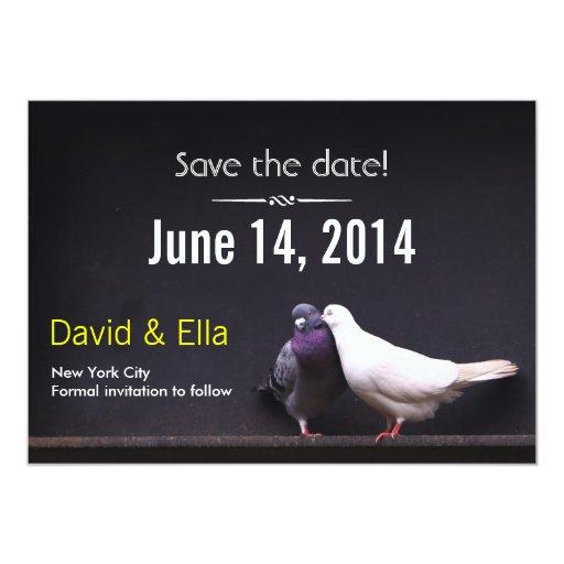 "Classy Dark Love Birds Save the Date Invitation 5"" X 7"" Invitation Card"