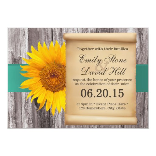 "Classy Sunflower Teal Belt Wedding Invitations 5"" X 7"" Invitation Card"