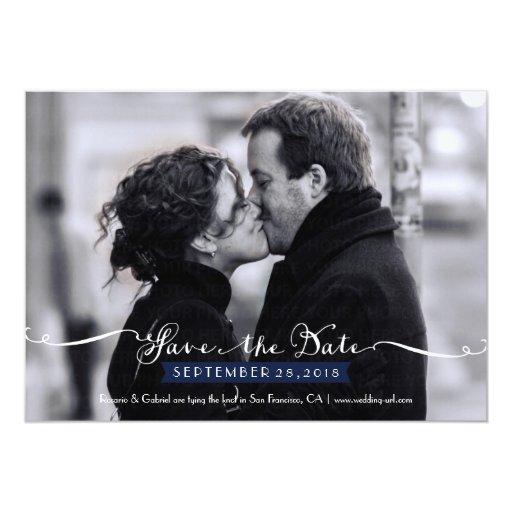 Vintage Romantic Script (Navy) Photo Save the Date 5x7 Paper Invitation Card
