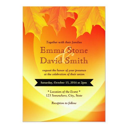 "Classy Autumn Leaves Fall Wedding Invitations 5"" X 7"" Invitation Card"