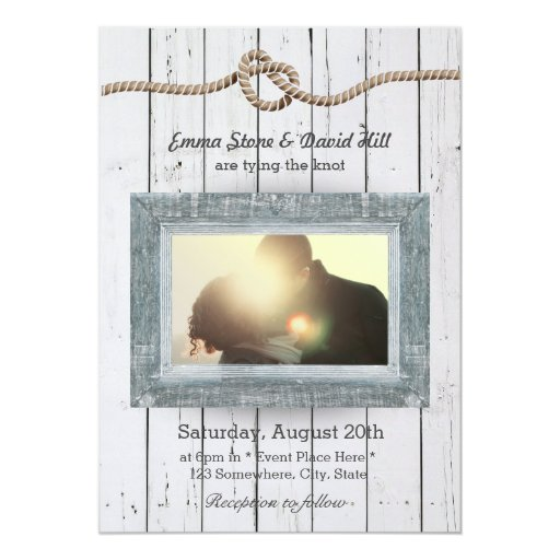 Rustic Weathered Wood Background Photo Wedding 5x7 Paper Invitation Card