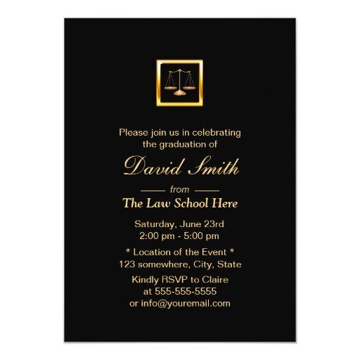 Royal Gold Justice Scale Law School Graduation 5x7 Paper Invitation Card