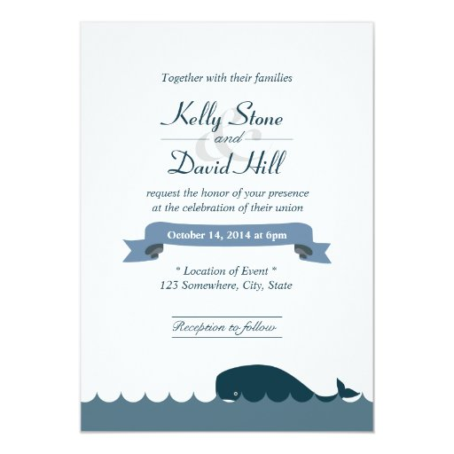 "Nautical Blue Whale & Waves Wedding Invitations 5"" X 7"" Invitation Card"