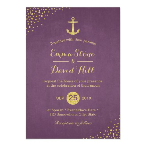 Modern Purple Gold Anchor Nautical Wedding 5x7 Paper Invitation Card