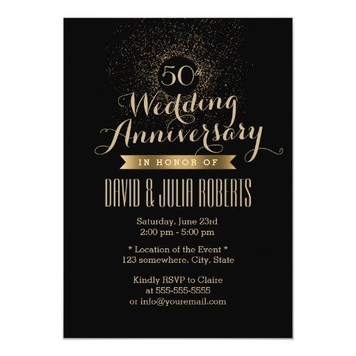 Modern Black & Gold 50th Wedding Anniversary 5x7 Paper Invitation Card