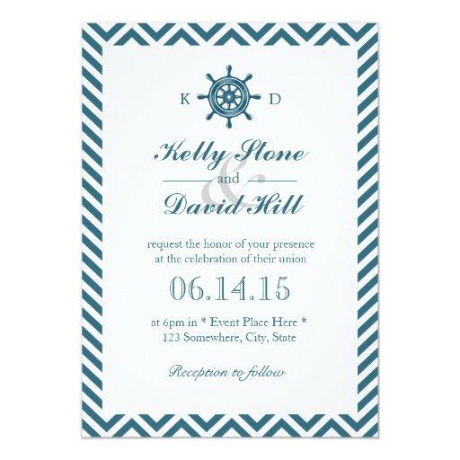 Nautical Rudder Blue Chevron Stripes Wedding 5x7 Paper Invitation Card