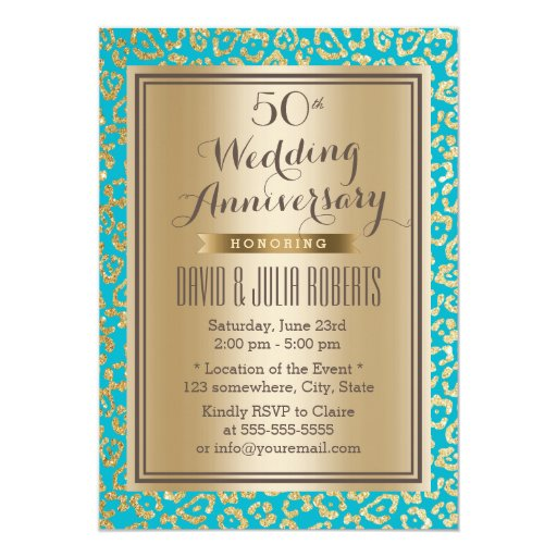 50th Wedding Anniversary Teal & Gold Leopard Print 5x7 Paper Invitation Card