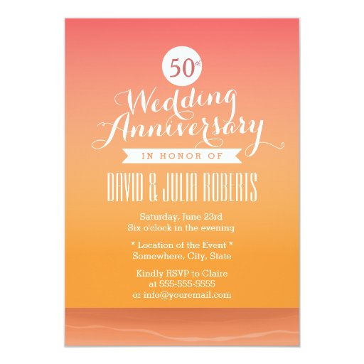 Classy Sunset Beach Wedding Anniversary 5x7 Paper Invitation Card