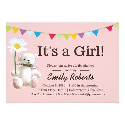 "Cute Bear & Daisy Girl Baby Shower Invitations 5"" X 7"" Invitation Card"