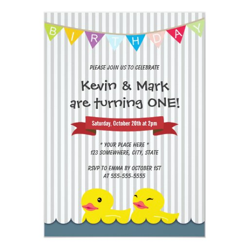 "Cute Rubber Duck Twins Birthday Party Invitations 5"" X 7"" Invitation Card (front side)"