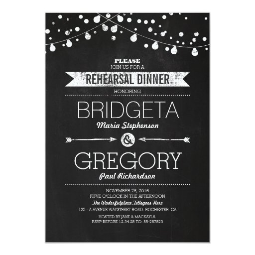 Modern Chalkboard String Lights Rehearsal Dinner 5x7 Paper Invitation Card