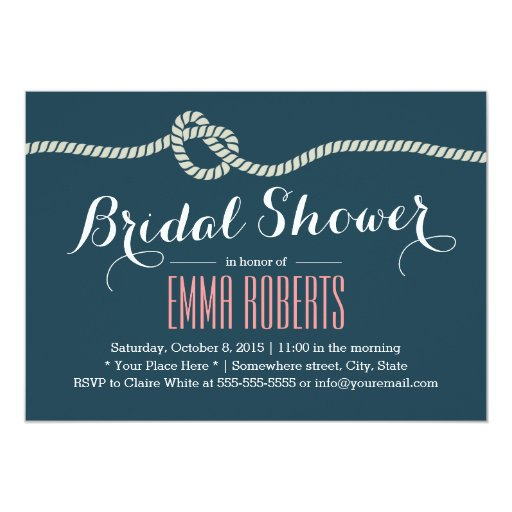 "Navy Blue Rope Knot Bridal Shower Invitations 5"" X 7"" Invitation Card"