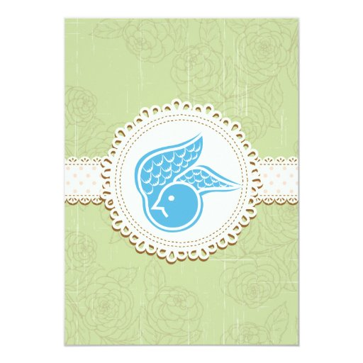"Bluebird of Happiness Floral Wedding Invitation 5"" X 7"" Invitation Card"