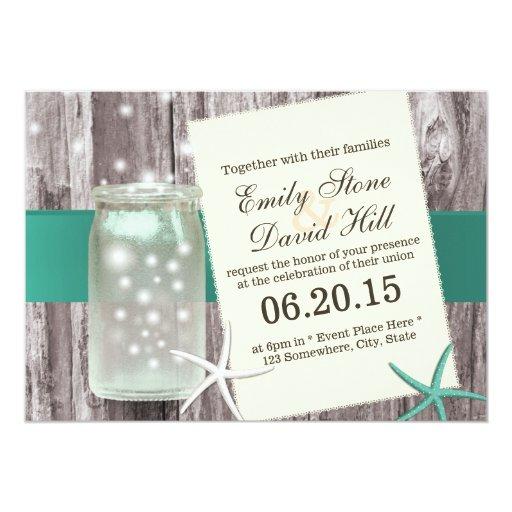 Classy Teal Starfish & Mason Jar Wood Wedding 5x7 Paper Invitation Card
