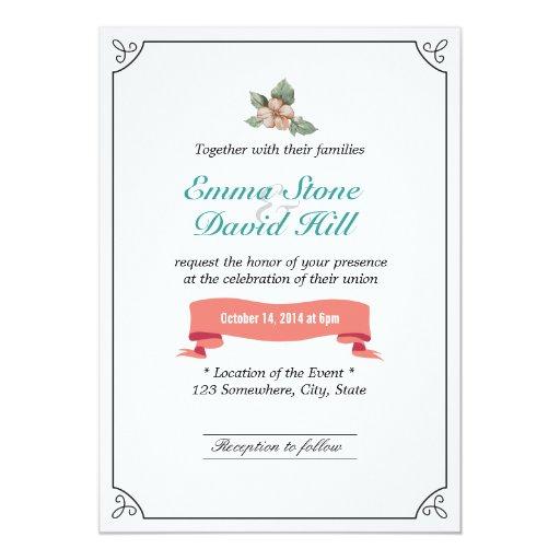 "Stylish Framed Vintage Flower Wedding Invitations 5"" X 7"" Invitation Card"
