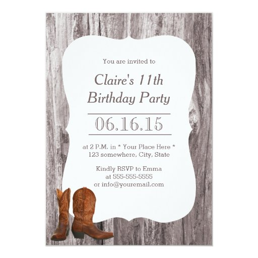 Country Cowboy/Cowgirl Wood Birthday Party 5x7 Paper Invitation Card