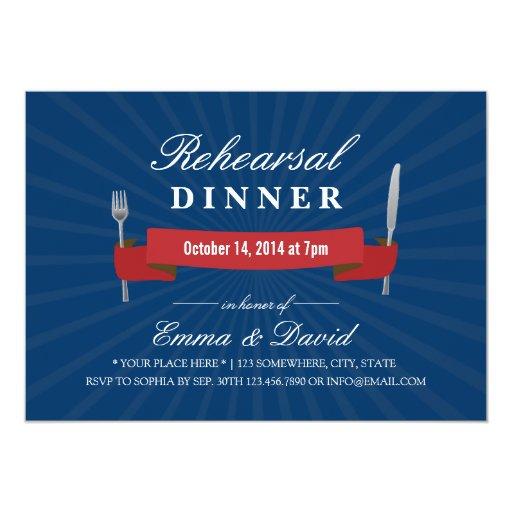 """Navy Blue Wedding Rehearsal Dinner Invitations 5"""" X 7"""" Invitation Card"""