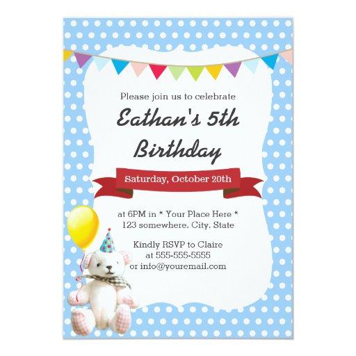 Cute Teddy Bear Blue Polka Dots Birthday Party 5x7 Paper Invitation Card