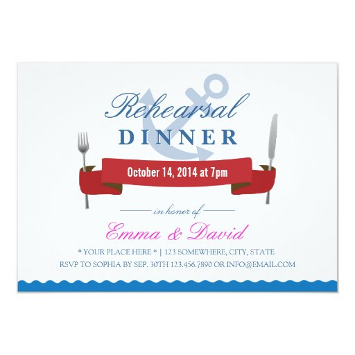 "Nautical Wedding Rehearsal Dinner Invitations 5"" X 7"" Invitation Card"