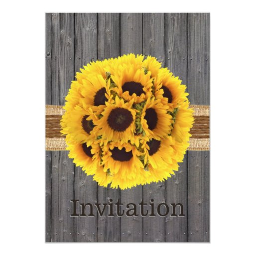 Country Sunflowers Barn Wood Bridal Shower 5x7 Paper Invitation Card