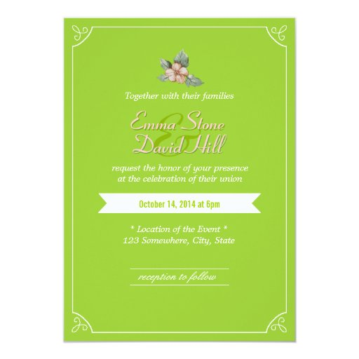 "Spring Green Vintage Flower Wedding Invitations 5"" X 7"" Invitation Card"