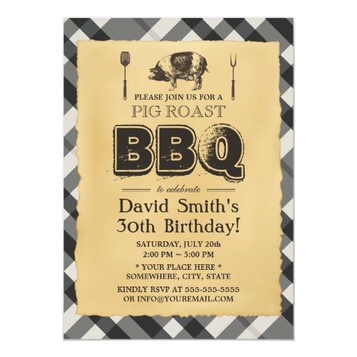 Vintage Plaid Pig Roast BBQ Birthday Party 5x7 Paper Invitation Card