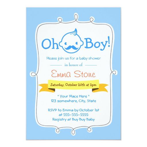 "Blue Little Man Baby Boy Baby Shower Invitations 5"" X 7"" Invitation Card"