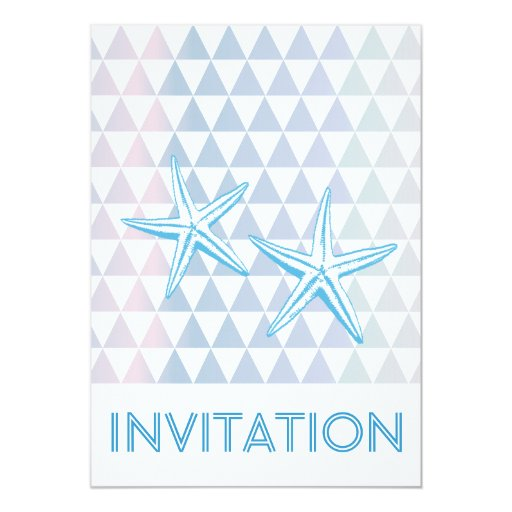 "Modern Starfish Couple Engagement Party Invitation 5"" X 7"" Invitation Card"