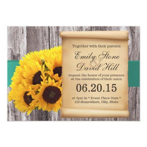 "Rustic Sunflowers Teal Belt Wedding Invitations 5"" X 7"" Invitation Card"