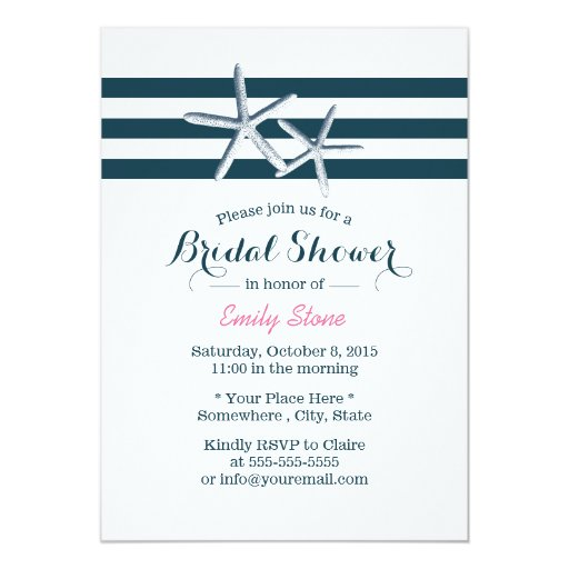 Simple Nautical Starfish Bridal Shower 5x7 Paper Invitation Card (front side)